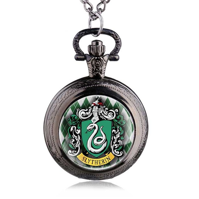 New Fashion Witchcraft Slytherin Hogwarts School Snake Pendant Necklace Dome Quartz Pocket Watch Men Women Kids Gift HB815