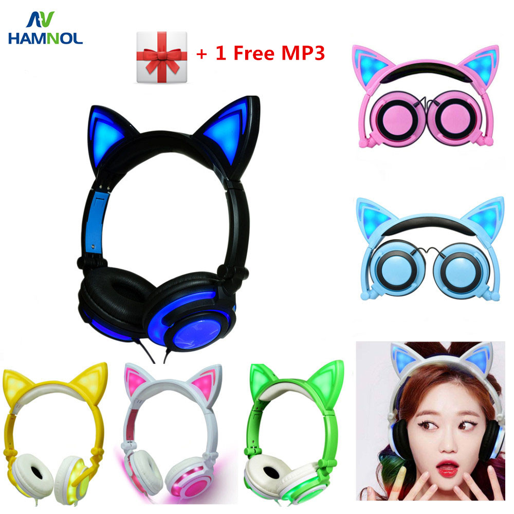 HAMNOL Cat Ear headphones with LED Flashing Glowing Light <font><b>Headset</b></font> Gaming Earphones for PC Computer and Mobile Phone