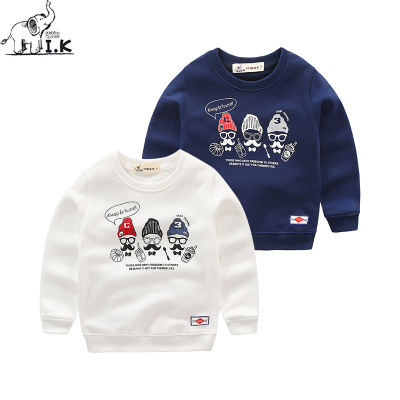 I.K Autumn Spring boys warm sweatshirt cotton fashion clothing top long sleeve sport coat cute printing white and blue WY25038