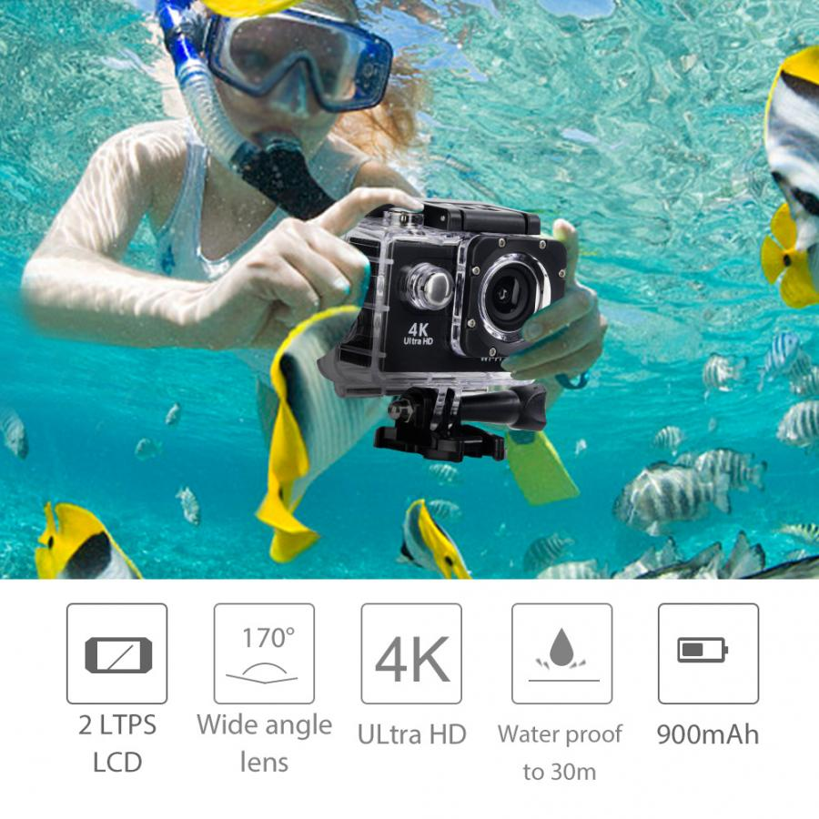 4K HD WiFi Camera 30M Waterproof Housing Two Battery Bike Mount Kit 4K video and 12MP photos Wide angle lens