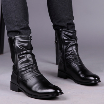 British fashion men mid-calf short boots cowboy nightclub punk soft leather boots gentleman point toe shoes botines hombre male