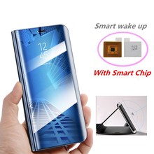 все цены на Window View Clear Mirror Flip Cover For Samsung Galaxy S9 S8 Plus S7 S6 Edge Smart Chip Stand Case For Samsung Note 8 9 Note 5