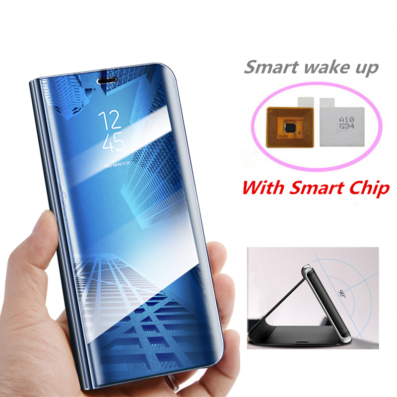 Window View Clear Mirror Flip Cover For Samsung Galaxy S9 S8 Plus S7 S6 Edge Smart Chip Stand Case For Samsung Note 8 9 Note 5