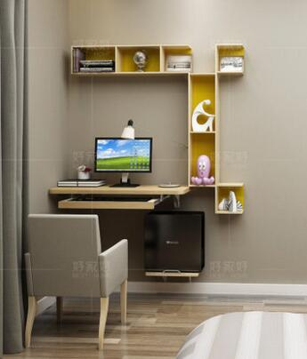 Купить с кэшбэком Small family model bedroom computer desk. Hanging simple table. Hang a wall to desktop computer desk.