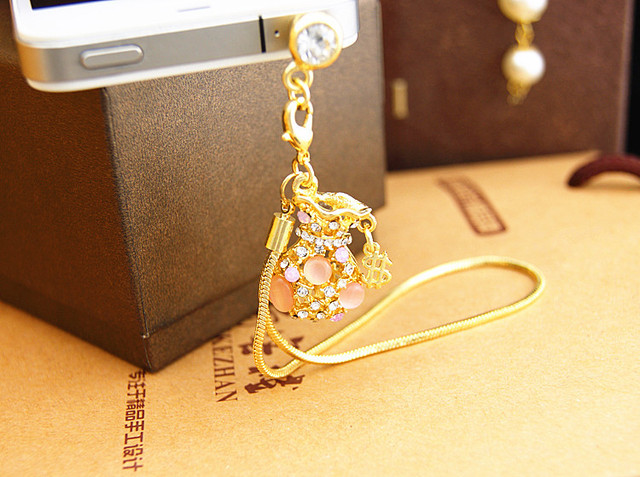 Korean Fashion burst long chain of the opal pocket phone dust plug earphone jack for 3.5mm headphone holes of phone