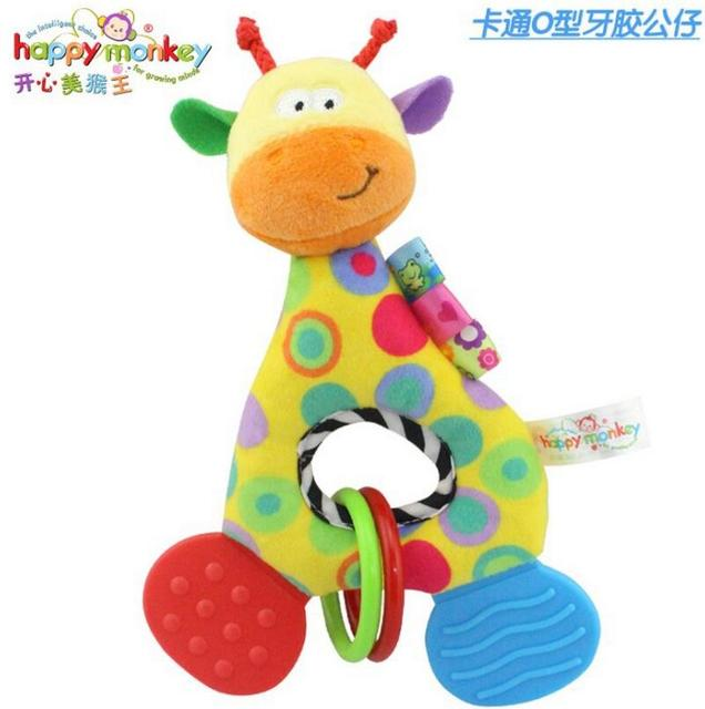 Baby Infant Cartoon Animal Giraffe Fish Handle Rattles Soft Plush Safety Teether Toys Teeth Care Doll For Kid 20%OFF 4
