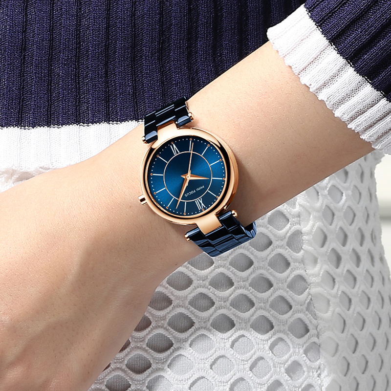 MINI FOCUS Women Watches Waterproof Blue Stainless Steel Brand Luxury Fashion Ladies Quartz Watch Relogio Feminino Montre Femme