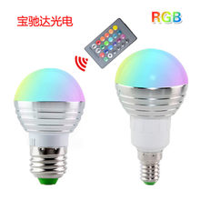 85-265 V E27 E14 RGB Bombilla LED 16 color magia LED nocturno lámpara de luz regulable luz de la etapa/24key Control remoto vacacion(China)