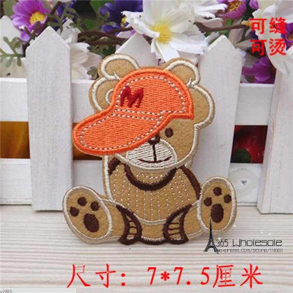 Free Shipping M Teddy Bear stickers 30pcs/lot Iron On Embroidered cloth patch party costume promotion decoration kids gift
