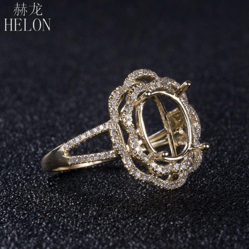 HELON 10X8mm Oval Cut Solid 10K Yellow Gold Natural Diamond Semi Mount Engagement Wedding Women s