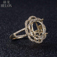 HELON  10X8mm Oval Cut Solid 10K Yellow Gold Natural Diamond Semi Mount Engagement Wedding Women's Fine Jewelry Ring Setting