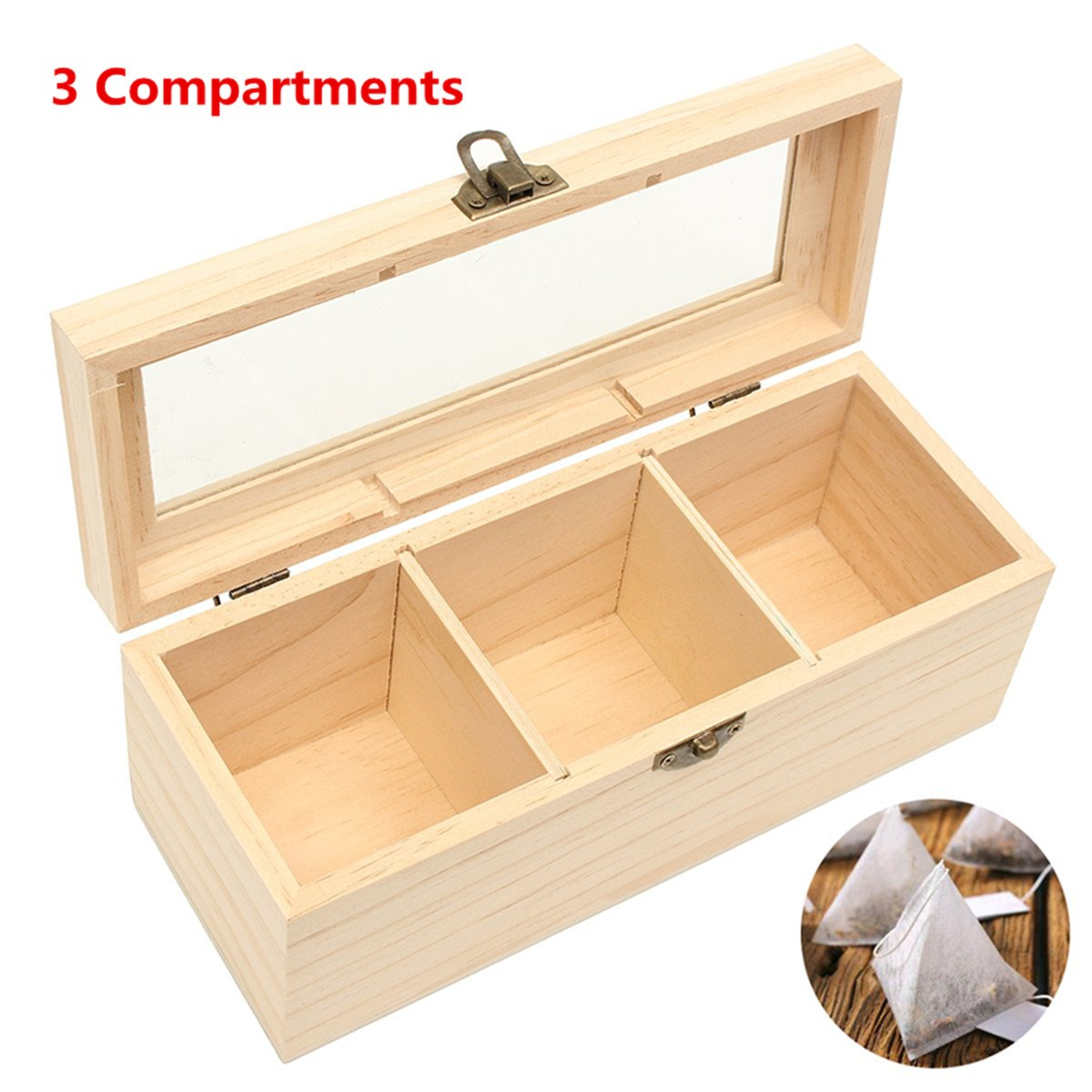 Wooden 3 Compartments Tea Box Antique Chest Tin Caddy Glass Lid Storage Container Home Kitchen Organizer Sundries Holder