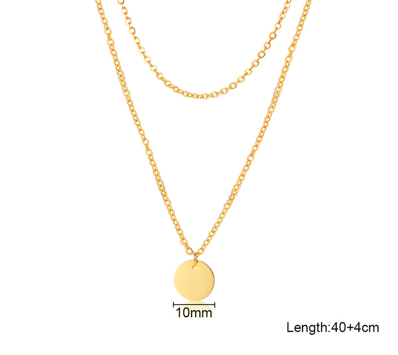 Modyle Gold Color Stainless Steel Double Layered Chain Coin Necklace For Women