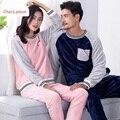 Invierno croal fleece pijama conjunto ropa de dormir de los pares a juego mujeres hombres patchwork Amantes chándal caliente larga Pijama pijama Homewear