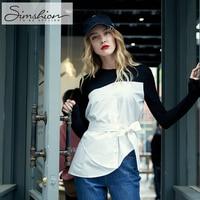 Simshion O Neck Belt Shirts Long Sleeve Women Spring Autumn Elegant Blouse Splice Black White Shirt