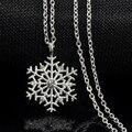Encantos de la manera de señora Crystal Copo de nieve de La Flor del Zircon Plateado Collares y Colgantes de La Joyería para Las Mujeres Del Suéter Del collar