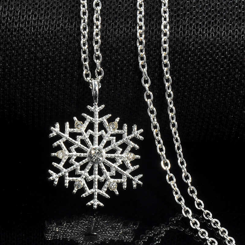 Fashion Charms lady Crystal Snowflake Zircon Flower Silver Christmas  Necklaces   Pendants Jewelry for Women Sweater c0af867ac045