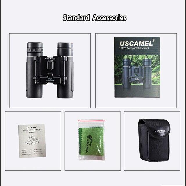USCAMEL 10x25 Compact Binoculars Folding HD FMC Optics 5