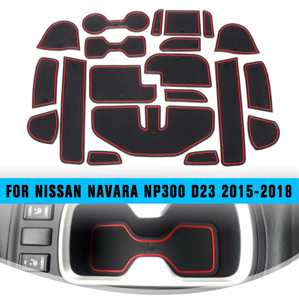 Car Accessories Auto Door Groove Mats/Cup Mats 20pcs For Nissan Navara NP300 D23 2015-2018 Car Anti Non Slips