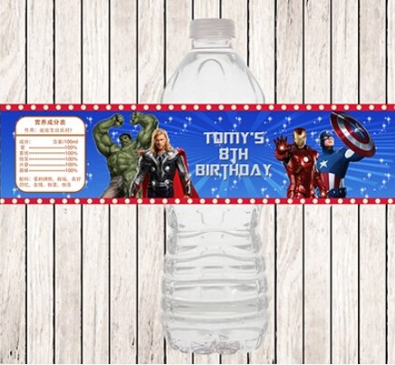 10 Iron Man Birthday Personalized Party Favors Water Bottle Labels