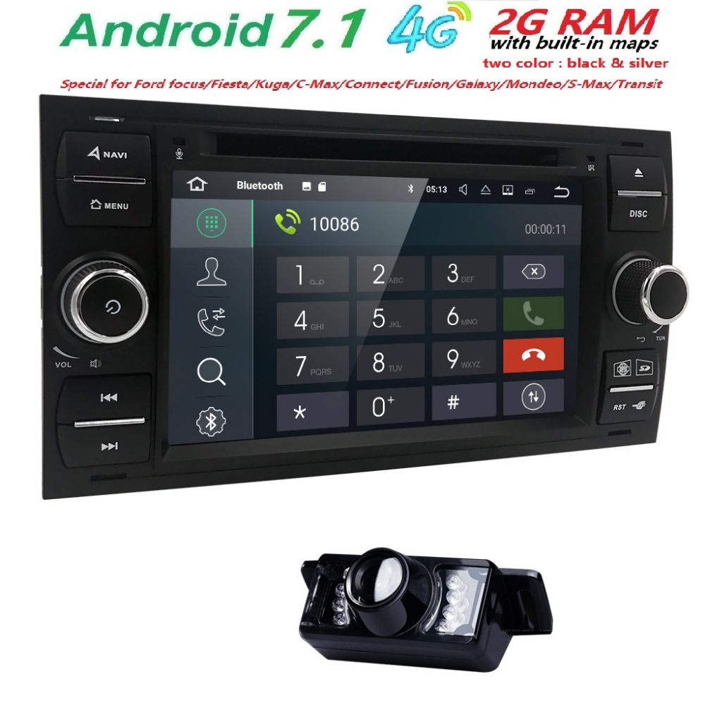 2 din GPS Car Radio Android 7.1 Car DVD Player For Ford Fiesta Focus 2 3 S C Max Mondeo Kuga Fusion GalaxyConnect Multimedia SWC