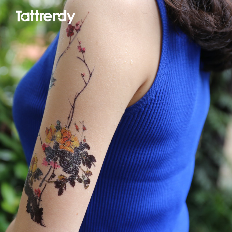 Colored Sleeve Tattoo Of Birds: Waterproof Temporary Tattoos On Arm Shoulder Fake Tattoo