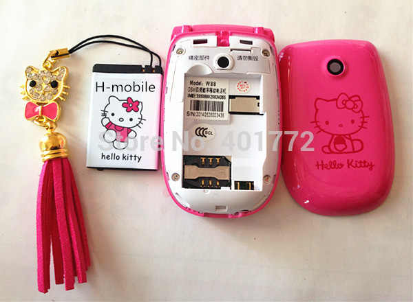 2 baterías Flip hello Kitty teléfonos móviles W88 de lujo música Flash luz Mini chica señora niños teléfono móvil h-mobile W88