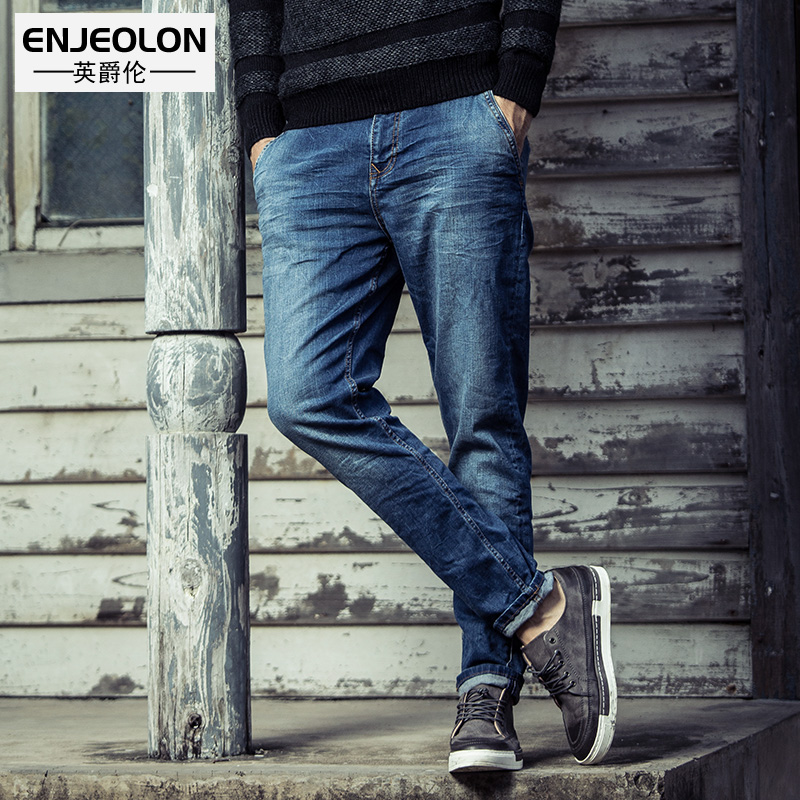 Enjeolon brand 2017 top quality jeans men long full trousers clothing Slim solid blue jeans males Causal pencil Pants NZ025