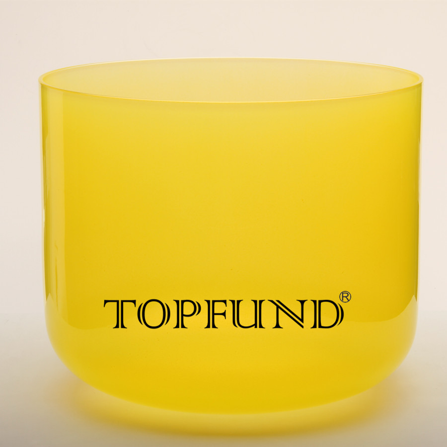TOPFUND Yellow Colored Clear E Note Solar Plexus Chakra Quartz Crystal Singing Bowl 9 With Free Mallet and O-Ring