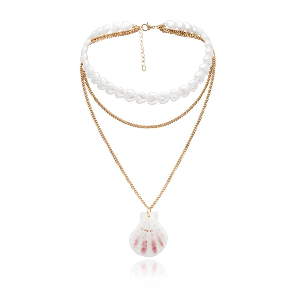 KMVEXO 2019 Trendy Gold Color Layers Women Boho Statement Fan Shell Chain Necklace Lady Heart Pearl Choker Necklace Jewelry Gift in Pendant Necklaces from Jewelry Accessories