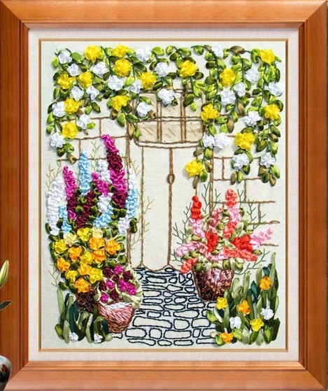 Flower Garden Silk Ribbon Embroidery Kit Material Handcraft Cross