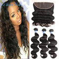 8A Peruvian Virgin hair with Frontal Closure Rosa Hair Products Body Wave With Frontal Human Hair Lace Frontal With Bundles