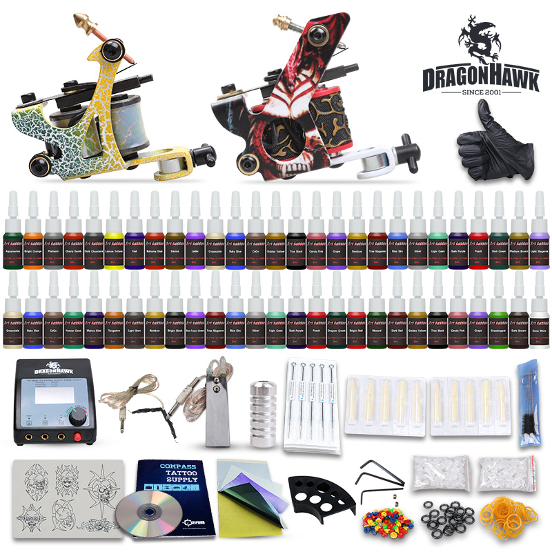 Top Selling Tattoo Kit 2 Machines Guns 54 Color Ink Power Supply Needles Set Equipment D100-7 hot selling black handle mouth gas guns lpg guns for jewelry processing equipment goldsmith s tools buy more discount more