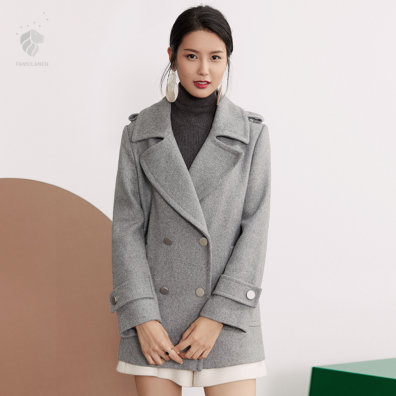 FANSILANEN 2018 New Arrival Fashion Autumn/Winter Casual Wool Cashmere Coat Woolen Gray Women Female Overcoat Z73172
