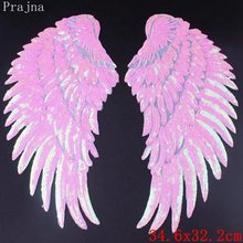 Prajna Angel Wings Sequin Patches Cute Rainbow Embroidered For Clothes Stripe Iron On Stickers 1 Pair