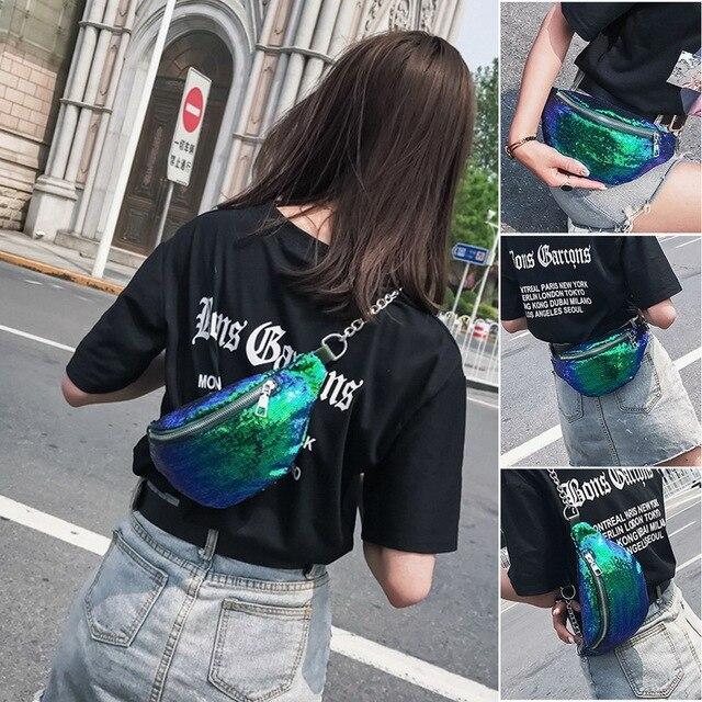 Belt Waist Bag Women Sequins Fanny Pack Chain Messager Chest bags Female Travel Handbag Shoulder Crossbody Bag for Women Wallet