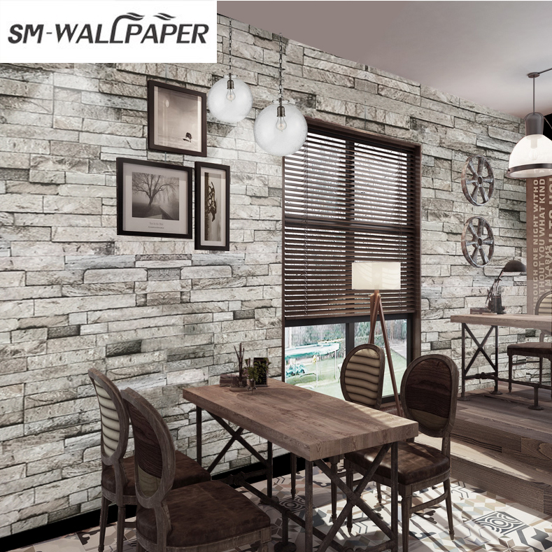 High Quality Geometric PVC Waterproof 3d Brick Stone Wall Stickers Wall paper mural 3d for Home Hotel Restaurant Decor high quality diy romantic flowers pattern wall stickers for home decor