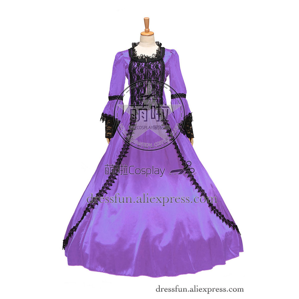 Marie Antoinette Vintage Gothic Victorian Wedding Dress Gown With Lace Decorated Beautiful For Classical Or British Style Party
