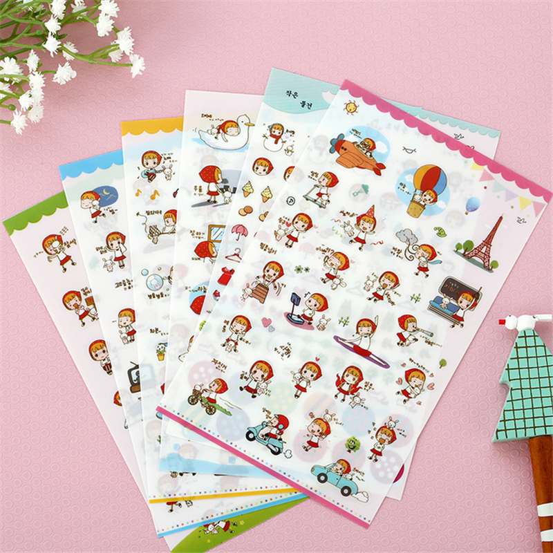 6 X Factory Direct Wholesale Korean Stationery Cute Little Red Riding Hood Pvc Sticker Diary Decorative Stickers Photo Album