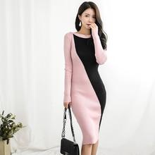 Осеннее лоскутное женское платье-свитер с О-образным вырезом и длинным рукавом, популярные цвета, обтягивающее женское платье до колен, вязаное платье