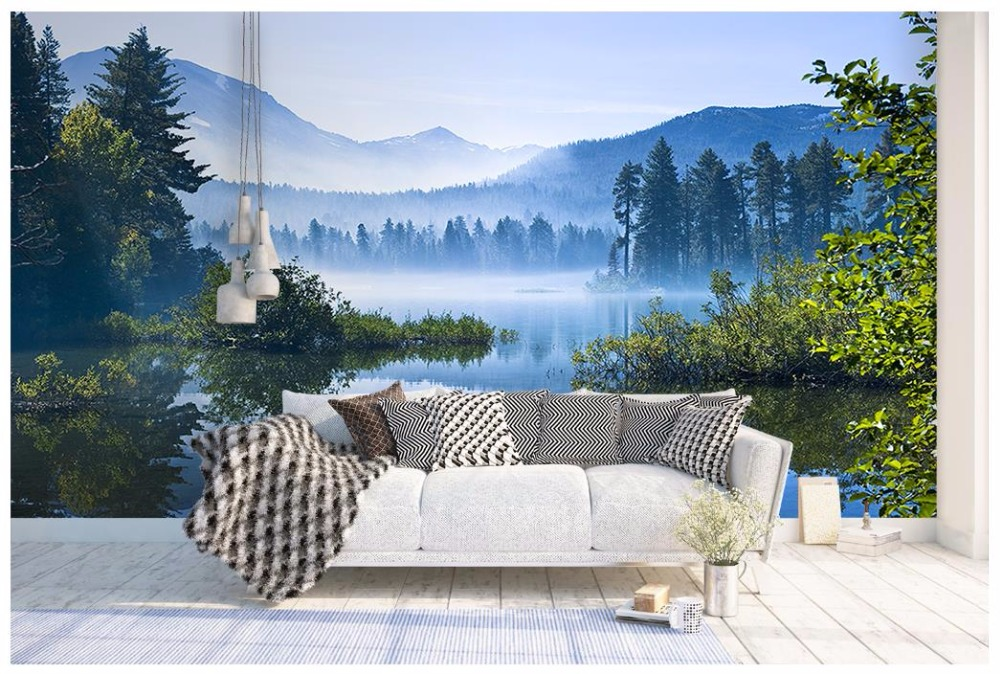 Custom 3d Mural Wallpapers Hd Landscape Mountains Lake: 3D Wall Murals Wallpaper Custom Photo Wallpaper Mural