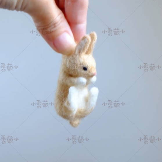 Woollen felt jab, animal hedgehog, cat, panda, rabbit seal yucococafe.  wool felt needle felting decoration craft needlecraft