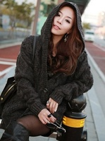 Women Knitted Hooded Cardigan Sweater Winter Autumn Warm Loose Outwear Tops AIC88