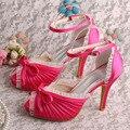 Wedopus Fuchsia Satin Grooms Wedding Shoes Bridal Handmade 10CM Heel