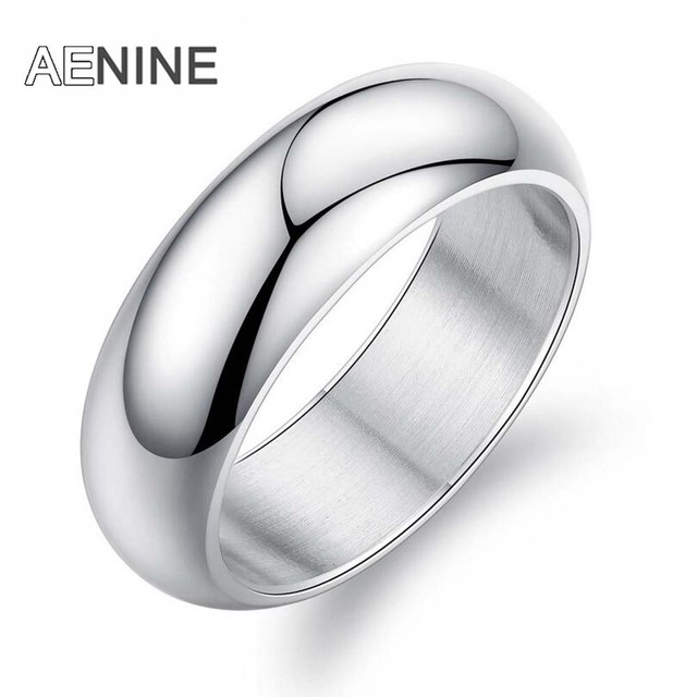 AENINE Minimalist 7mm Wide Smooth Couple Engagement Rings 316L Stainless Steel Simple Wedding Ring Jewelry For Women Men OGJ334