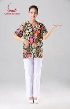 NEW fashion Hospital Clothing Man Woman Medical Scrub Top V Neck Printing Color Pet Doctors Operation Uniforms