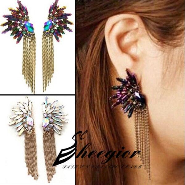 New 2014 Crystal Dangle Earrings Long chain Angel wing Earrings Discolor Perfum rhinestone drop earrings women Free shipping