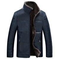 Autumn Winter New Men's Leather Fur Jackets Warm Slim Patchwork Plus Velvet Leather Coats Faux Leather Male Fleece Coats YP1172