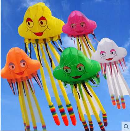 free shipping high quality 5m octopus kite jellyfish soft kite with handle line outdoor flying toy weifang kite factory wheel 16 colors x vented outdoor playing quad line stunt kite 4 lines beach flying sport kite with 25m line 2pcs handles