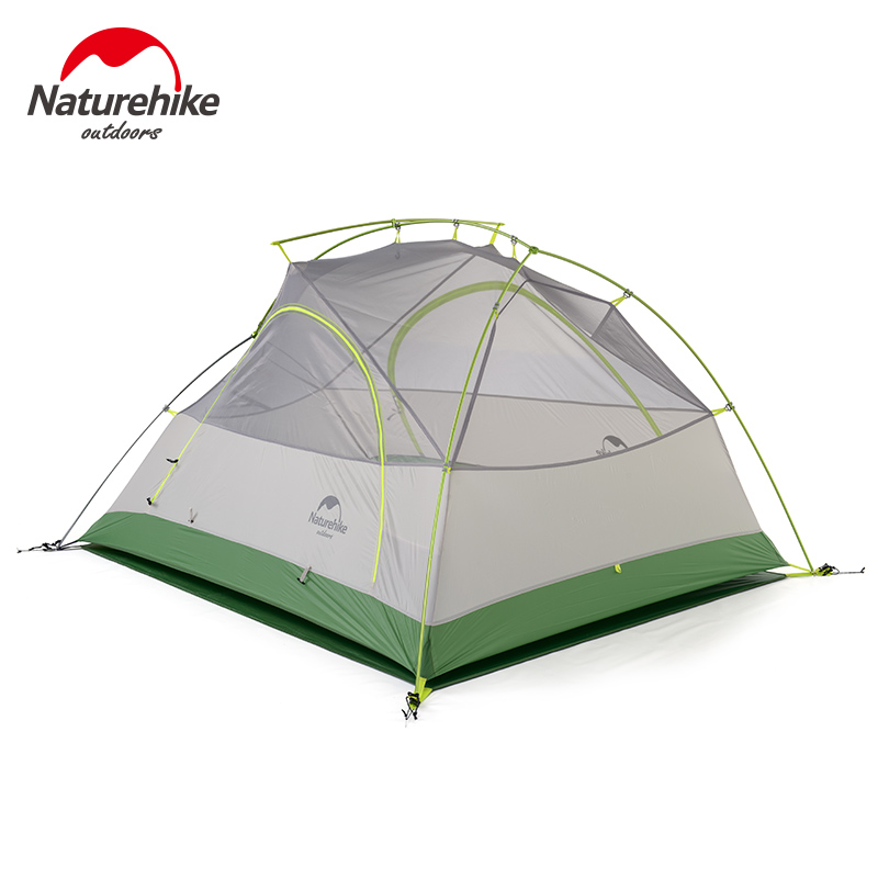Naturehike 2 Person Camping Tent Ultralight 20D Silicone Fabric Double-layer Outdoor Backpacking Hiking 2 Man Tents 2017 dhl free shipping naturehike 2 person tent ultralight 20d silicone fabric tents double layer camping tent outdoor tent